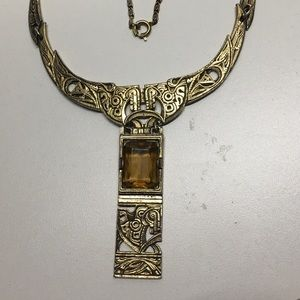 Egyptian revival vintage necklace with glass stone